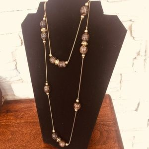 Floating Beads on Goldtone Chain Necklace